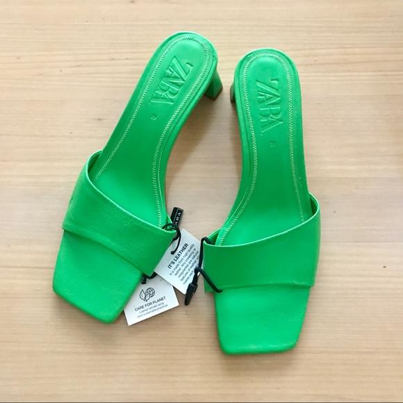 Zara Green Leather Mule Sandals Blogger